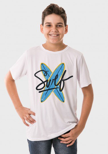camiseta infantil masculina manga curta new dry branca frente surf c