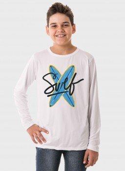 camiseta infantil masculina manga longa new dry branca frente surf c