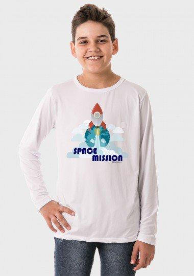 camiseta infantil masculina manga longa new dry branca frente c