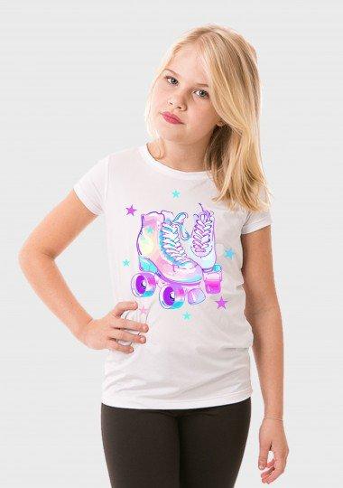 camiseta manga curta infantil feminina new dry branca frente patins c