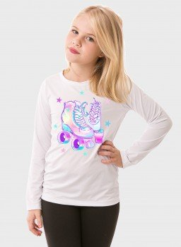 camiseta manga longa infantil feminina new dry branca frente patins c