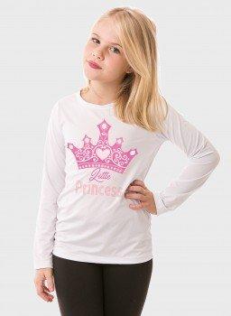 camiseta manga longa infantil feminina new dry branca frente princesa c