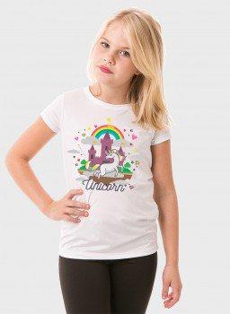 camiseta infantil feminina curta unicornio frente c