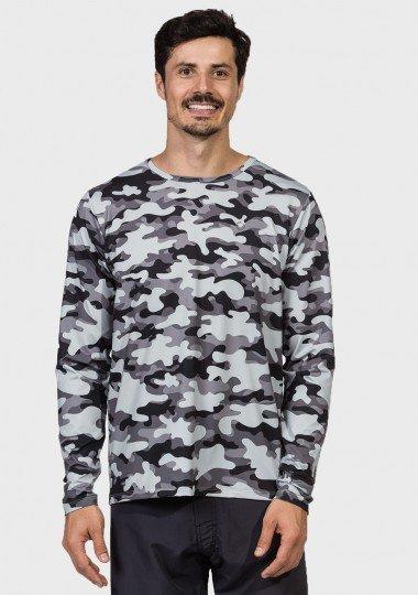 camisa camuflada masculina manga longa protecao solar extreme uv urbana frente c