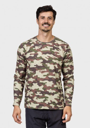 camisa camuflada masculina manga longa protecao solar extreme uv militar frente c