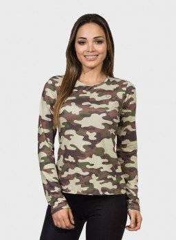 camisa camuflada feminina manga longa protecao solar extreme uv militar frente c