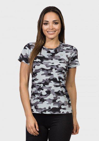 camisa camuflada feminina manga curta protecao solar extreme uv urbana frente c