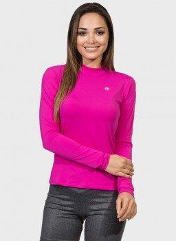 camisa uv gola alta feminina protecao solar rosa extreme uv frente c