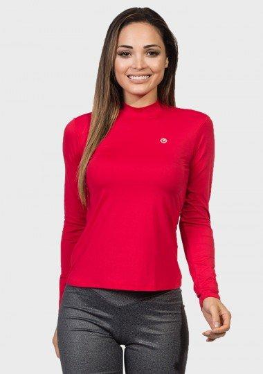 camisa uv gola alta feminina protecao solar vermelha extreme uv frente c