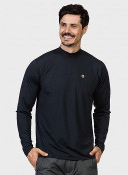 camisa uv gola alta masculina manga longa protecao solar preta extreme uv frente c