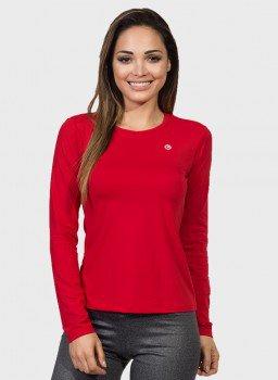 camisa uv feminina basic dry com protecao solar manga longa extreme uv vermelha frente c