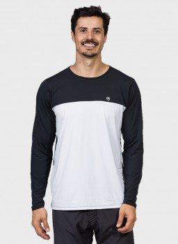 camisa masculina manga longa com protecao solar e recorte no peito extreme uv frente c
