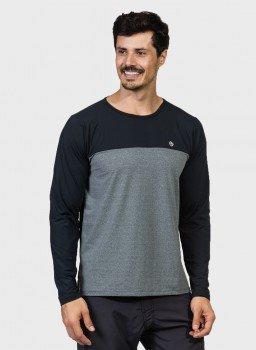 camisa masculina manga longa com protecao solar e recorte no peito mescla extreme uv frente c