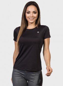 camisa uv feminina new com protecao solar manga curta extreme uv preta frente c