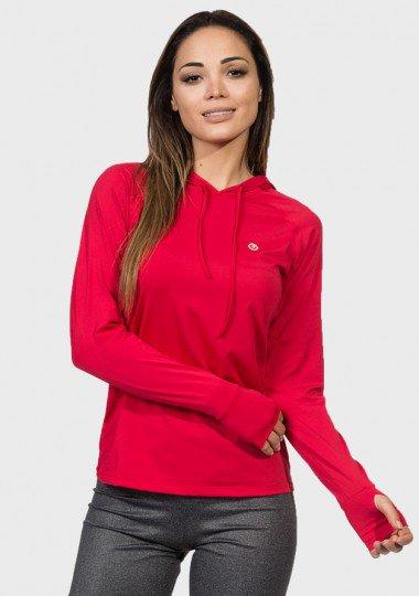 camisa feminina com protecao solar capuz e encaixe para o dedo extreme uv vermelha frente c