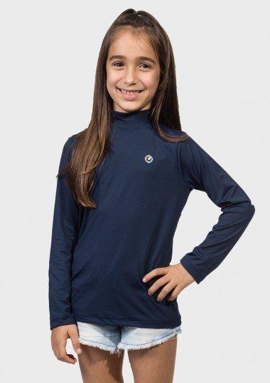 cb371f89ec camisa uv gola alta infantil feminina ice manga longa protecao solar  extreme uv marinho lateralc