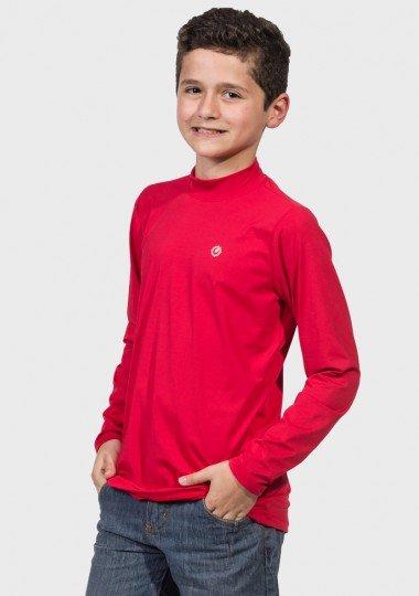 camisa uv gola alta infantil masculina ice manga longa protecao solar extreme uv vermelha lateral c