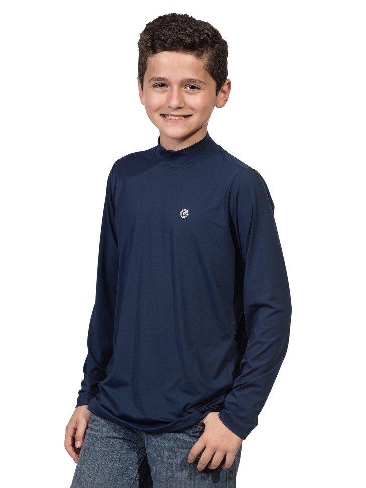 infantil masculinas t shirt longa dry azul frente b