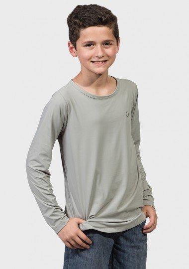 camisa uv infantil masculina ice manga longa com protecao solar extreme uv cinza frente c