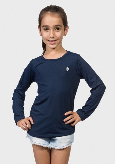 camisa uv infantil feminina ice manga longa com protecao solar extreme uv azul frente c