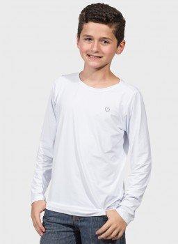 camisa uv infantil masculina ice manga longa com protecao solar extreme uv branca frente c