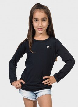 camisa uv infantil feminina ice manga longa com protecao solar extreme uv preta frente c