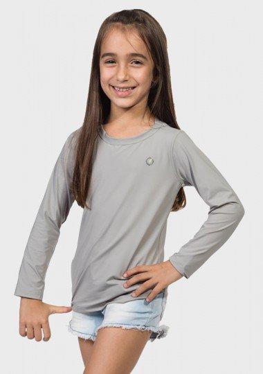 camisa uv infantil feminina ice manga longa com protecao solar extreme uv cinza frente c