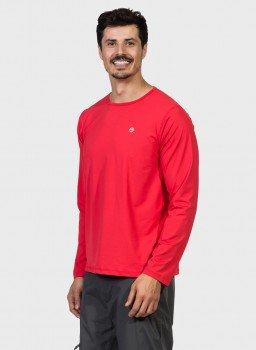 camisa uv masculina ice manga longa com protecao solar extreme uv vermelha lateral c