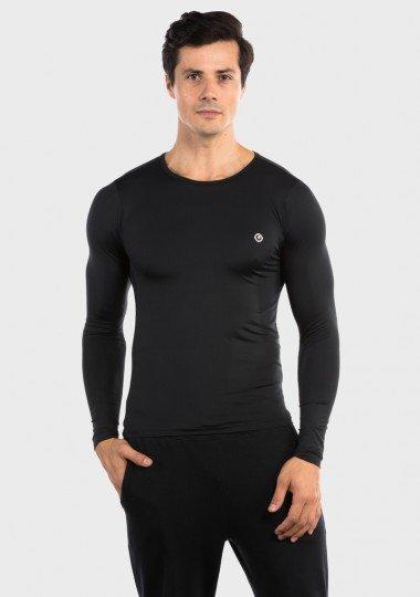 camisa segunda pele basic com protecao solar extreme uv masculina preta frente c