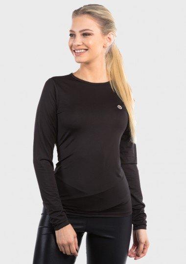 camisa segunda pele basic com protecao solar extreme uv feminina preta frente c