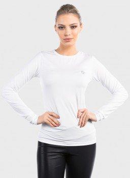 camisa segunda pele ice com protecao solar extreme uv feminina frente branca c