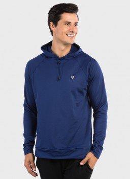 camisa uv termica para frio com capuz masculina extreme uv lateral azul c