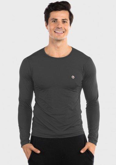 camisa segunda pele termica com protecao solar extreme uv masculina chumbo frente dois c