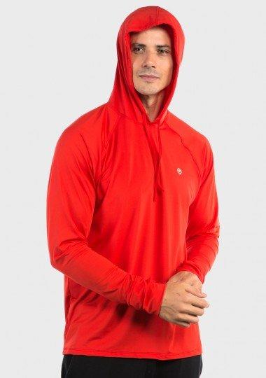 camisa uv com capuz e encaixe para dedo extreme uv new dry masculina vermelha capuz c