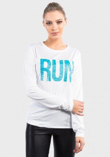camisa com protecao solar estampa run extreme uv feminina basic branca frente c