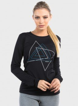 camisa com protecao solar estampa triangulo extreme uv feminina ice preta frente c