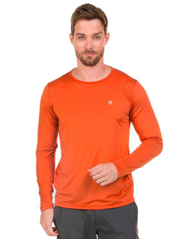 masculina t shirt longa new dry laranja fluor