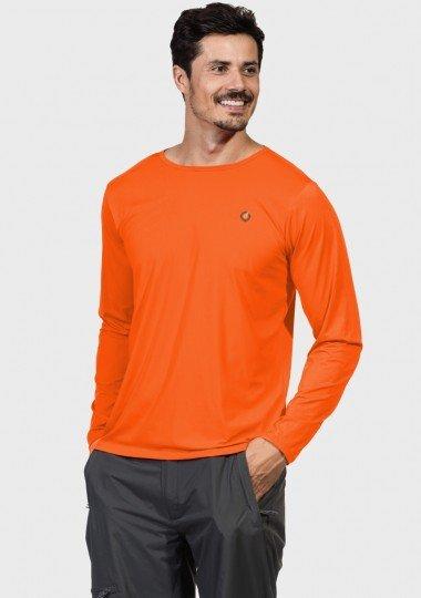 camisa masculina basic dry com protecao solar manga longa extreme uv laranja fluor frente c
