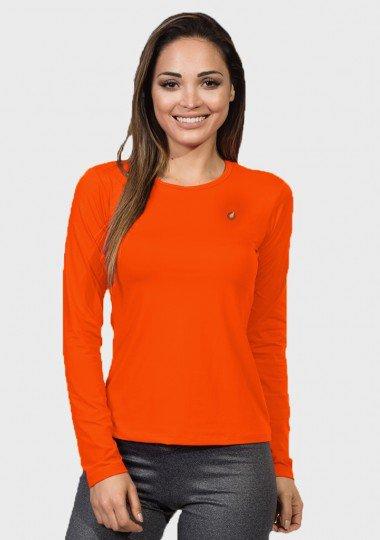 camisa uv feminina basic dry com protecao solar manga longa extreme uv laranja frente nova c
