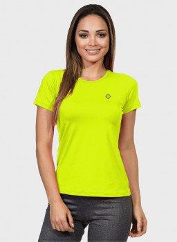 camisa uv feminina new dry com protecao solar manga curta extreme uv amarelo fluor frente c