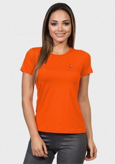 camisa uv feminina new dry com protecao solar manga curta extreme uv laranja fluor frente c