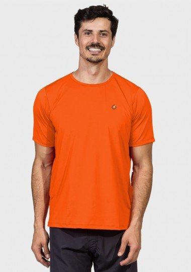 camiseta basic masculina com protecao solar manga curta extreme uv new dry laranja fluor frente c