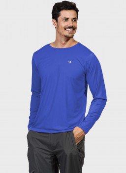 camisa masculina basic dry com protecao solar manga longa extreme uv azul frente c