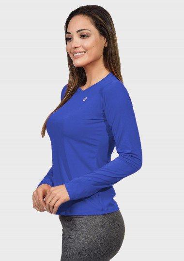 camisa uv feminina basic dry com protecao solar manga longa extreme uv azul nova lateral c