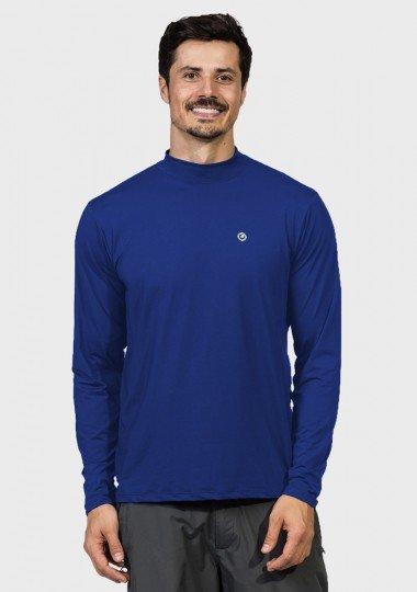 camisa uv gola alta masculina manga longa protecao solar azul claro extreme uv frente c