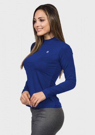 camisa uv gola alta feminina protecao solar marinho claro extreme uv lateral c