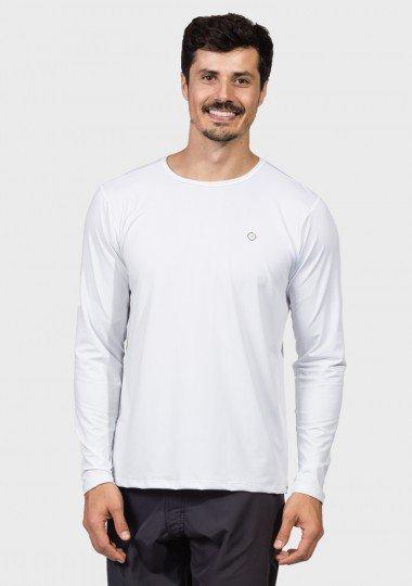 camisa masculina basic dry com protecao solar manga longa extreme uv branca frente c