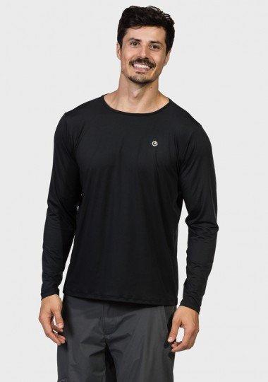 camisa masculina basic dry com protecao solar manga longa extreme uv preta frente c