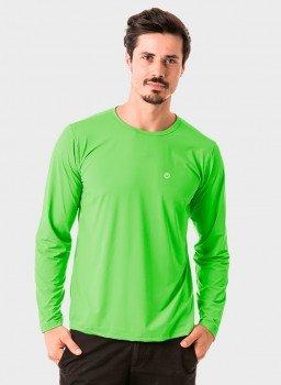 camisa masculina basic dry com protecao solar manga longa extreme uv verde fluor frente c