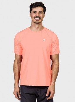 camiseta ice masculina com protecao solar manga curta extreme uv pessego frente c